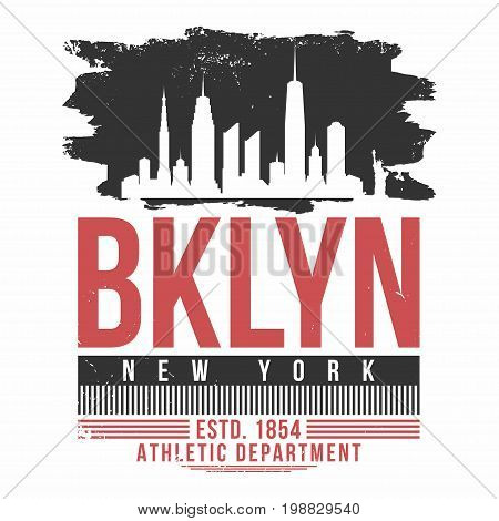 New York, Brooklyn Typography For T Shirt Print. T Shirt Graphics With City Skyline Silhouette