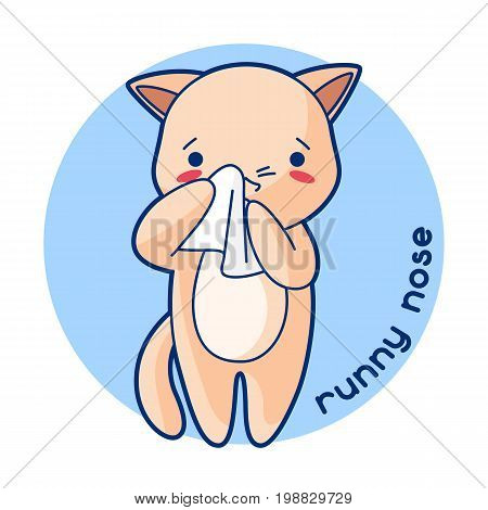 Runny nose sick cute kitten. Illustration of kawaii cat.