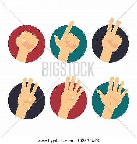 Hand count. Finger and 1-2-3-4-5 number. Hands vector flat icons set: finger counting, victory sign. Hand symbols isolated on white background
