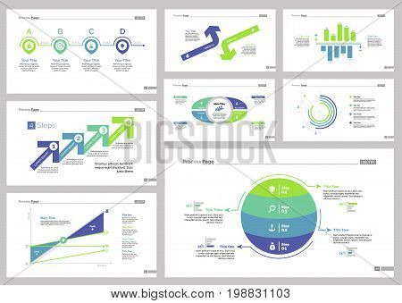 Infographic design set can be used for workflow layout, diagram, annual report, presentation, web design. Business and banking concept with process, doughnut, line, area, bar and percentage charts.