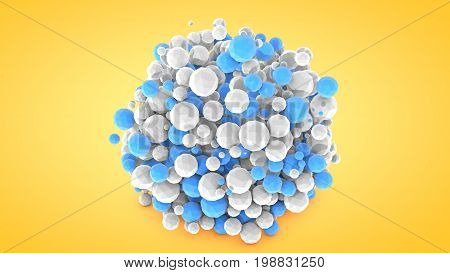 Abstract Background With Spheres, 3D Rendering, Plastic Material