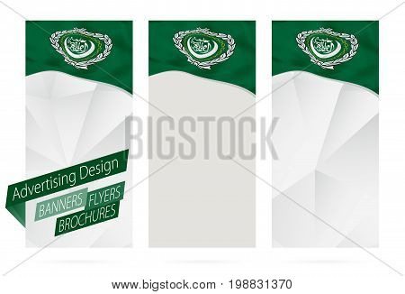 Design Of Banners, Flyers, Brochures With Flag Of Arab League.