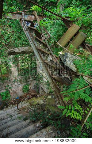 Inside the ruined building overgrown by plants. Ruins of stair. Abkhazia