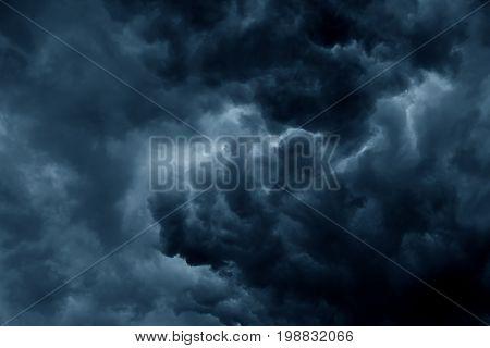 Stormy rain clouds background. Dark sky scene