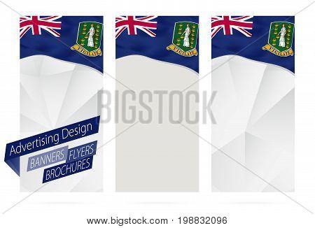Design Of Banners, Flyers, Brochures With Flag Of British Virgin Islands.