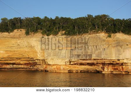 Rock formations in Pictured Rocks National Lakeshore, Upper Peninsula of Michigan