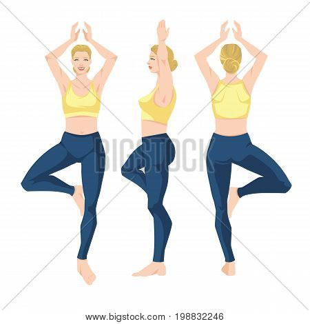 Vector illustration of young girl in yoga pose isolated on white background. Young woman in clothes for sport or fitness. Various turns woman's figure. Front view, side and back  view.