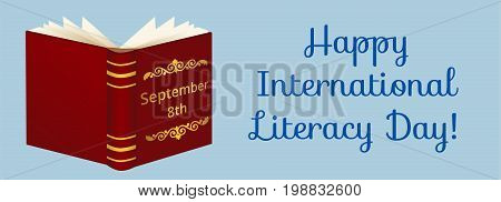Happy International Literacy Day. Web banner with opened book