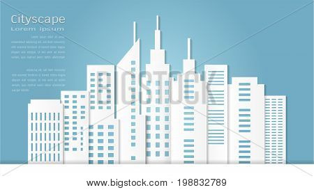 Paper art style for architectural building and cityscape background, Vector illustration modern background.