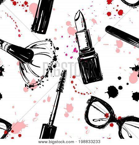 Seamless Makeup Cosmetics Pattern. Vector Hand Drawn Graphic Fashion Illustration: Glasses, Brush, M