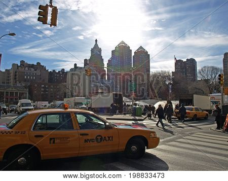 New York Taxi at Washington Square. 12th november 2016.New York's cabs face uncertain future in wake of Uber and Lyft