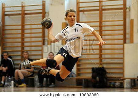 KAPOSVAR, HUNGARY - MAY 9: Agnes Traj in action at Hungarian Handball National Championship II. match (Kaposvar vs. Bacsbokod) May 9, 2010 in Kaposvar, Hungary.