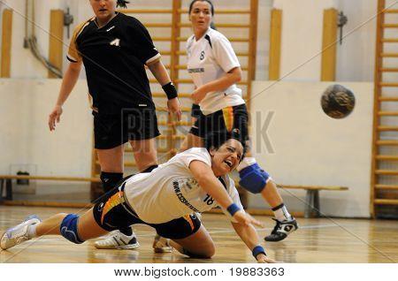 KAPOSVAR, HUNGARY - MAY 9: Beatrix Kantas (C) in action at Hungarian Handball National Championship II. match (Kaposvar vs. Bacsbokod) May 9, 2010 in Kaposvar, Hungary.