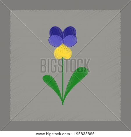 flat shading style Illustrations of plant Viola