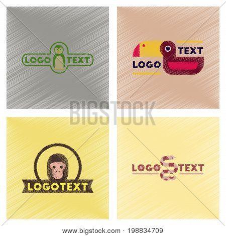 assembly flat shading style icons of logo penguin snake monkey bird