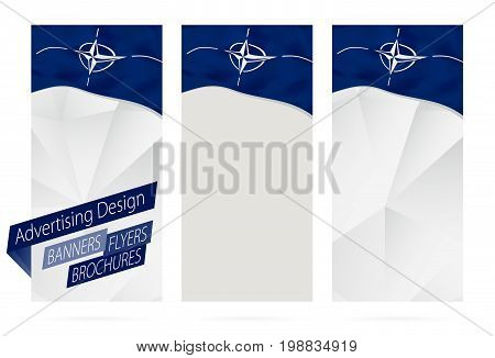 Design Of Banners, Flyers, Brochures With Flag Of Nato.