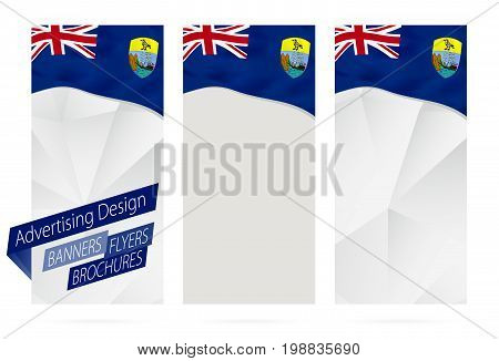 Design Of Banners, Flyers, Brochures With Flag Of Saint Helena.