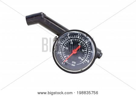 Hand holding pressure gauge for car tyre pressure measurementisolated on white background with clipping path.