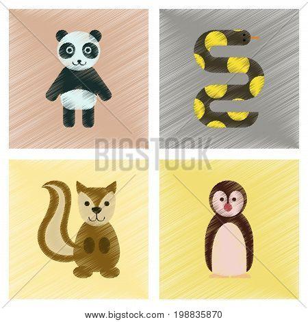 assembly flat shading style icons of Panda bear snake squirrel penguins