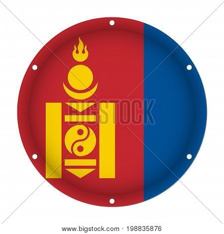 round metallic flag of Mongolia with six screw holes in front of a white background
