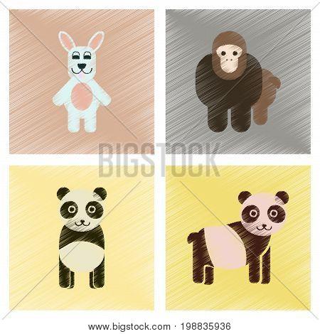 assembly flat shading style icons of Panda monkey rabbit