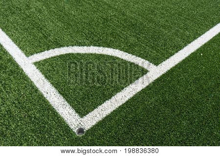 Corner Lines Of Football Field On Plastic Green