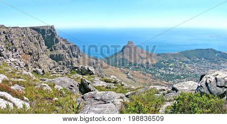 Table Mountain view from the top overlooking Lion's Head and Signal Hill  36bkl