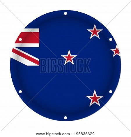 round metallic flag of New Zealand with six screw holes in front of a white background