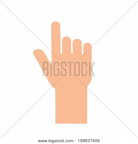 Hand finger touching something. Human hand in flat style isolated on background. Vector stock.