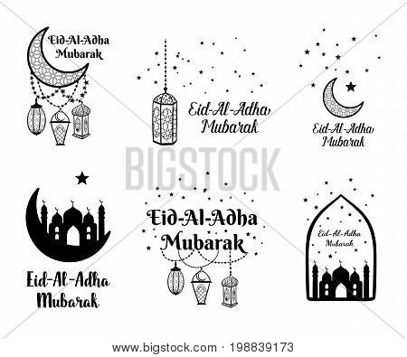 Eid Al Adha Mubarak Greeting Card, Banner, Poster, Logo With Lantern, Crescent, Moon And Star Elemen