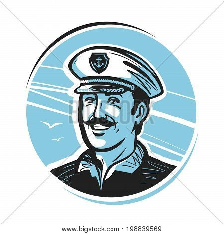 Portrait of happy smiling captain. Sailor, seafarer, seaman logo or label. Vector illustration isolated on white background