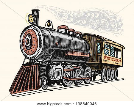 engraved vintage, hand drawn, old locomotive or train with steam on american railway. retro transport