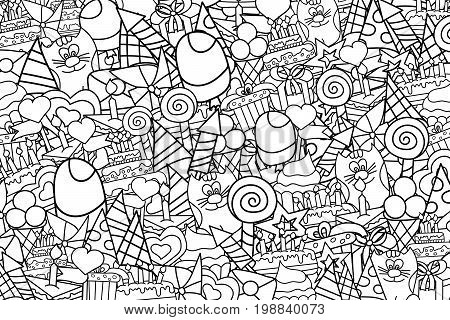 Birthday celebration cartoon outlined doodle design coloring page. Cute background concept for greeting card,  advertisement, banner, flyer, brochure. Hand drawn lineart vector illustration.
