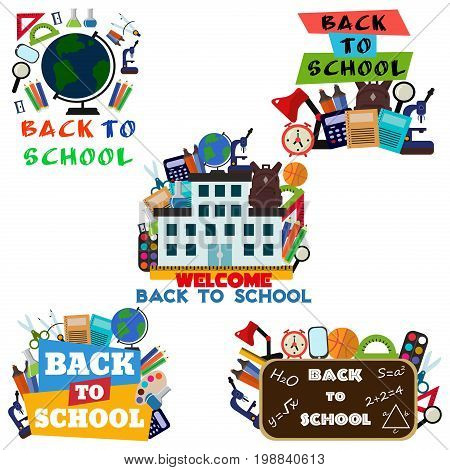 Vector illustration of Back to School supplies label. School learning equipment and different school supplies colorful office accessories. Back to school big banner.
