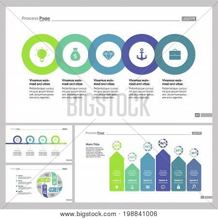 Infographic design set can be used for workflow layout, diagram, annual report, presentation, web design. Business and economics concept with process and bar charts.