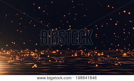 Abstract Background With Moving And Flicker Gold Particles. Backdrop Of Bokeh. 3D Illustration
