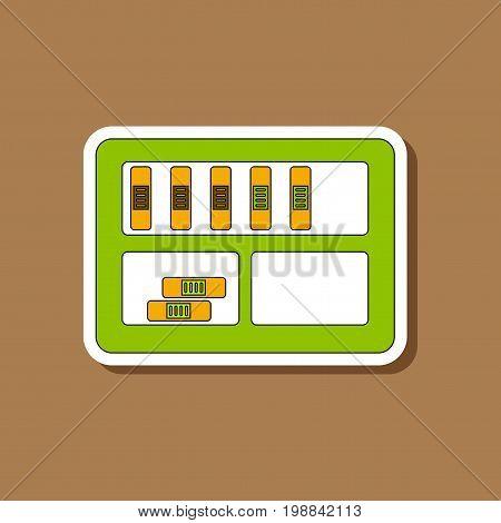 paper sticker on stylish background of folder shelf