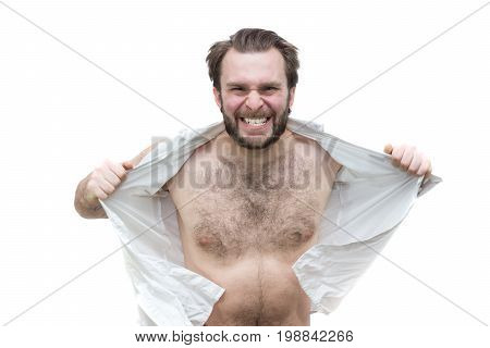 The bearded man tearing his shirt in anger white background isolation