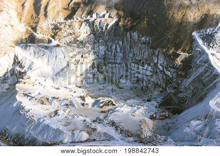 Marble quarry site from above in Carrara, tuscany, Italy