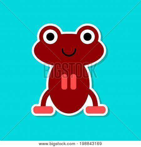 paper sticker on stylish background of frog cartoon