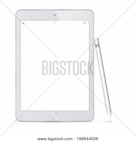 tablet grey color and pencil or stylus isolated on white background vector illustration. White Tablet PC Vector illustration with blank screen. Realistic tablet pc computer with blank screen.