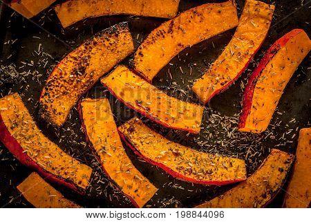 Spicy Roasted Pumpkin Wedges