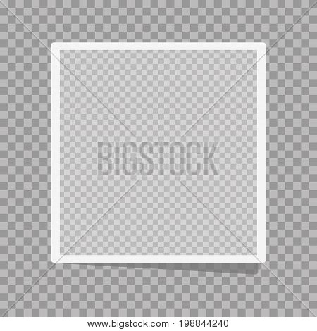 Photo frame on a isolated background. Realistic vector photo frame placed on transparent background. Realistic vector photo frame with straight edges on sticky tape placed vertically.