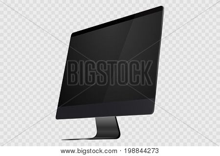 New black realistic 3d computer display isolated on transparent background. Vector realistic empty computer monitor, pc display isolated. Vector illustration of modern flat screen computer monitor