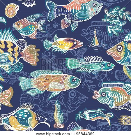 Seamless sketch texture with bright colorful glowing funny fish characters on indigo background