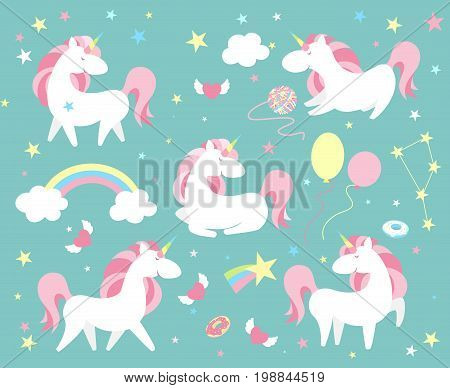 Unicorn character set. Cute magic collection with unicorn, rainbow, heart , fairy wings and balloon. Catroon flat style vector illustration