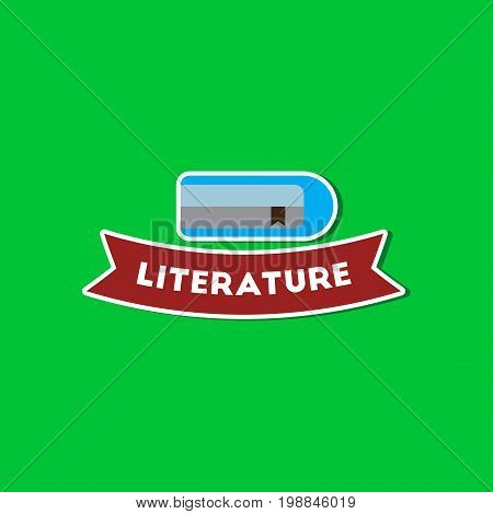 paper sticker on stylish background of Literature lesson