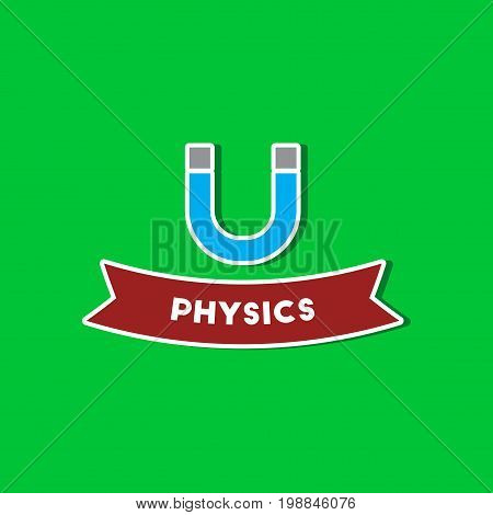paper sticker on stylish background of physics lesson
