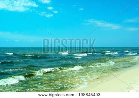 Black Sea foreland landscape. Regional Landscape Park of Kinburn Foreland.