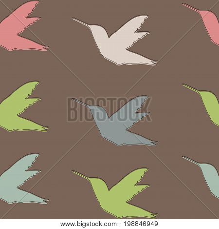 Seamless pattern with Colibri birds brown green